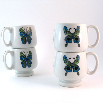 "Groovy 60s Ironstone Mugs Psychedelic Butterfly Stackable Footed ""Iron Butterfly"""