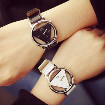 Relogio feminino skeleton watch Triangle watch women Delicate transparent hollow leather strap wrist watch quartz dress watch