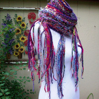 Hand Knit Wool Scarf Sari Silk Chiffon Hand Tied Imported Yarn Metallic Accents Long and Warm Fashion