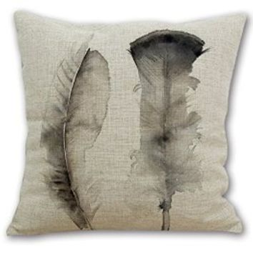 "Beety P36 Cotton Linen Thow Pillow Case Decorative Cushion Cover Square 18""- Watercolor Feathers"