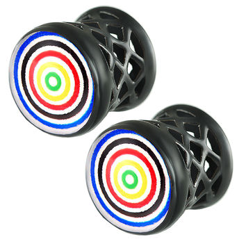 Target Logo Double-Flared Plug [Gauge: 1/2 inch - 12mm] Alloy (Black) // Set of 2