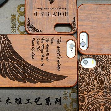 Wood Case for Apple iPhone 5 5s se Natural Bamboo Carving Design Wood With Durable Plastic Edges cover for iPhone 5s SE