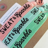Coral, aqua, and mint workout hair ties, sweat and sparkle, fitness ponytail, spring, knotted elastic, gym wear, active wear, motivation