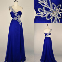 Stunning One Shoulder Blue Prom Dress/Evening Dress