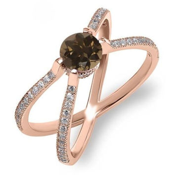 "1.38 Ct Round Brown Smoky Quartz 18K Rose Gold Plated Silver "" X "" Ring"
