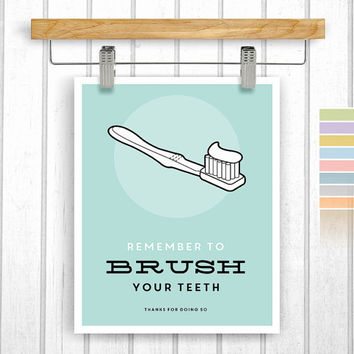 Bathroom print - Digital Download - Brush your teeth - Printable 8x10 - Bathroom rules - Instant Download - Poster Art - Retro