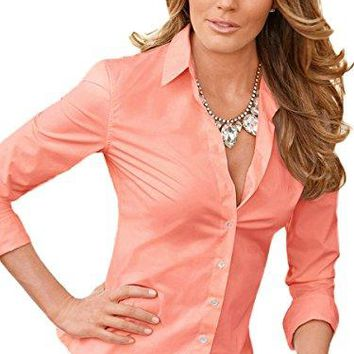 FISOUL Womens Formal Long Sleeve Button Down Shirts Basic Cotton Simple Blouse Tops