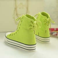 Korean candy colored canvas lace shoes