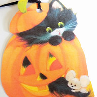 Retro Halloween - Black Cat Pumpkin - Gift Tags - Set of 3 - Jack O Lantern Tags - Cat And Mouse - 1950's Halloween - Retro Black Cat -