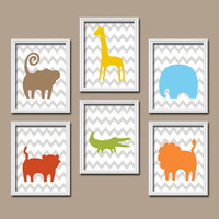 BOY Jungle Theme Safari Animals Jungle Nursery ZOO Baby Boy Nursery Wall Art Boy Bedroom Pictures CANVAS or Prints Decor Set of 6