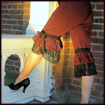 Steampunk Bloomers ~ Pirate Pants ~ Red Stripes Black Lace Ruffle Capri ~ Burning Man Victorian Gothic Cosplay ~ Belly Dance Fusion