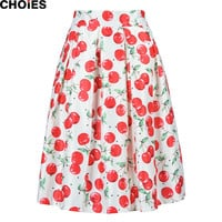 Women White Cherry Print Cute Mid Calf A Line Skater Skirt Elastic Waist 2016 Spring Summer New Fashion Casual Ladies Wear