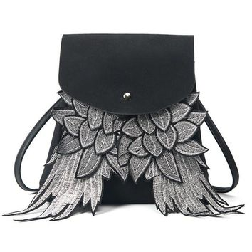 women's Drawstring leather Backpack Wings Rucksack