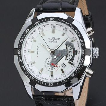 CREYUG3 Mechanical Watch Skeleton Leather Case Male Clock Black Leather Strap Hand Wind Casual Men Wristwatches (White , Black)