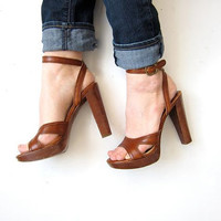 90s Sky High pumps. brown leather wooden sandals. sexy platforms peep toes.