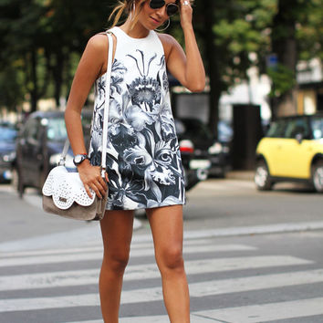 Fashion Casual Print Round Neck Sleeveless Bodycon Mini Dress