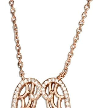 """STERLING SILVER 16""""-17"""" ADJUSTABLE ROSE GOLD TONE ANGEL WINGS NECKLACE WITH CUBIC ZIRCONIAS"""