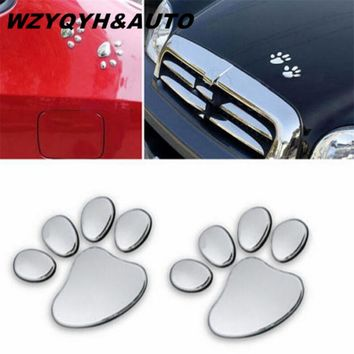 WZYQYH&AUTO 1 Pair Cool Design Paw Car Sticker 3D Animal Dog Cat Bear Foot Prints Footprint 3M Decal Car Stickers Silver Gold