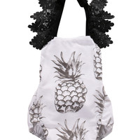 Cute Baby Girls Lace Fruit pineapple Romper halter Lace Jumpsuit Sunsuit One Piece Clothes