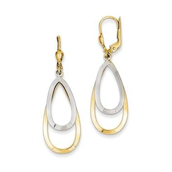 Double Teardrop Lever Back Earrings in 14k Yellow and White Gold