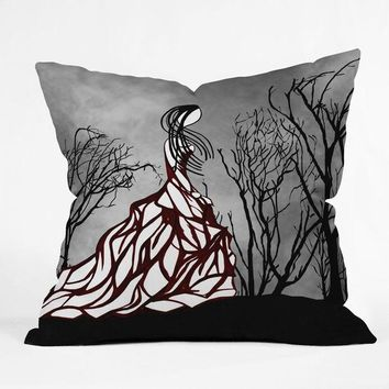 Lost in the woods fashion illustration pillow