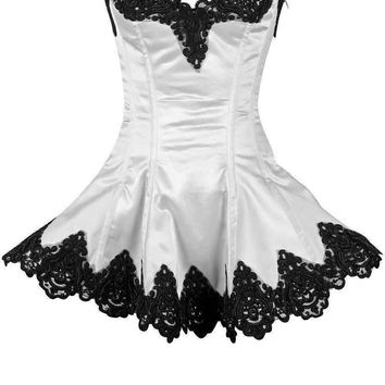 Daisy Corsets Top Drawer White Steel Boned Beaded Lace Corset Dress
