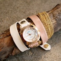 La Mer leather wrap watch with rose gold face and two-toned band | shopcuffs.com