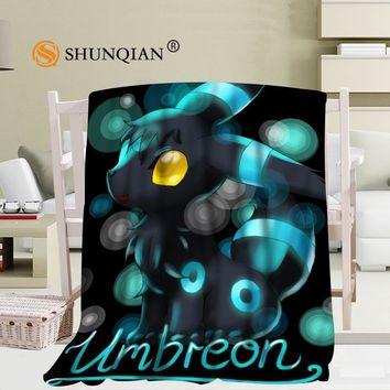 Custom Umbreon Eevee Pokemon blanket Flannel  Fabric 58x80inch 50X60inch 40X50inch Sofa Bed Blanket Kid Adult Warm Blanket