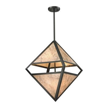 Mica 4 Light Pendant In Oil Rubbed Bronze And Marble Printed Mica