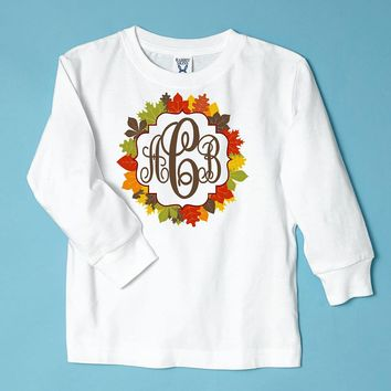 Fall Leaves with Monogram on White Long Sleeve Tee Shirt