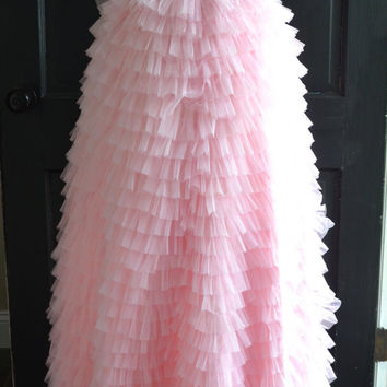 Long Bush Pink Tiered tulle skirt