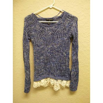INC International Concepts Petite Lace Hem Crochet Sweater 41402 Blue PP