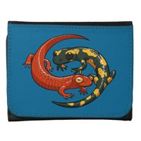 Two Colourful Smiling Salamanders Entwined Cartoon Wallet