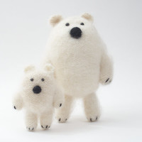 Polar bear, Mohair bear, Teddy Bear, Stuffed animal, Knitted bear family