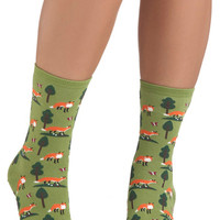 ModCloth Quirky Do Re Mi Fox Socks
