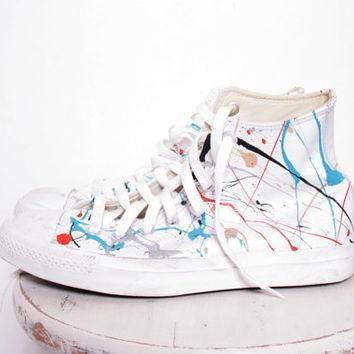 Custom Made Splatter Painted Vintage White Leather HighTop Converse Sneakers Size 7