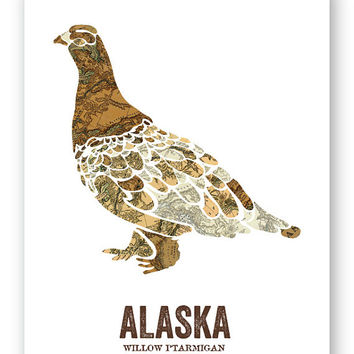 Willow Ptarmigan // Alaska State Bird, Nature/outdoor Print, Vintage Map, State Poster, Folk, Rustic, Outdoor, Country, Reproduction Print