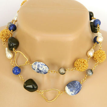 Blue Gemstone Necklace Long Handcrafted Freshwater Pearls Gold Links