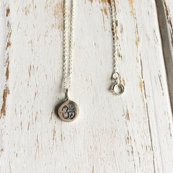 Sterling Silver Om Stamp Charm Necklace