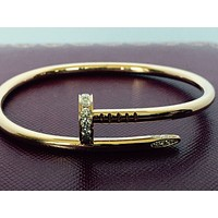 Cartier Juste Un Clou , Nail Bracelet With Diamonds, 18k Yellow Gold , Size 17