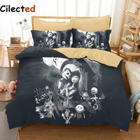 Cilected 3D Nightmare Before Christmas Bedding Set Sanding Bedding Duvet Cover Set 3pc Include Bed Spread Pillowcase For Adult