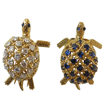 Cartier Two Sapphire Diamond Gold Turtles