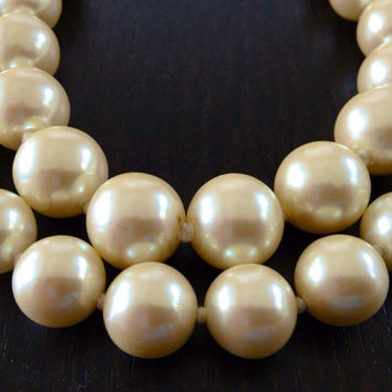Vintage Carolee Chunky Creamy Pearl Double Two 2 Strand Necklace