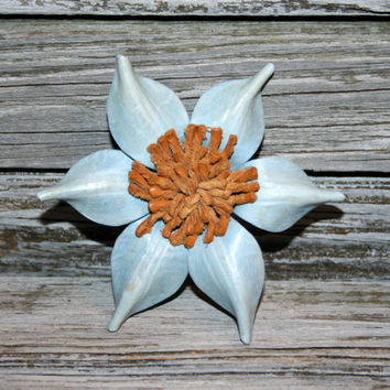 Vintage Brooches Light Blue Flower Pin Hand Tooled Leather Womens Unique Spring Jewelry