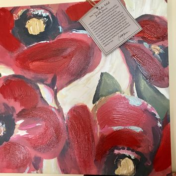 "Hand Painted Canvas Wall Art by Judith James Red Poppy Painting from Kohl's 12""x12"""