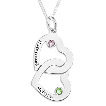 INTERLOCKING HEARTS PENDENT WITH BIRTHSTONE - STERLING SILVER