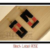 Black Label ROSE - Wooden Hand Painted Earrings, Jewelry, Jewellery, Wood Earrings, Champagne Earrings, black and metallic red earrings