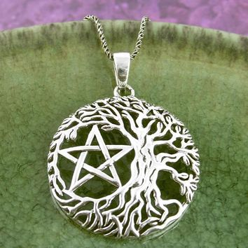 Natural Tree of Life Pentacle Necklace
