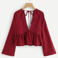 Plunging V-neckline Lace Trim Self Tie Frill Top BURGUNDY