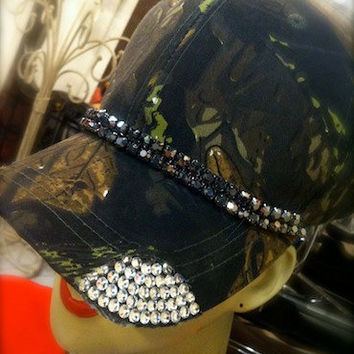 Camo Blingy Rhinestone Distressed Trucker Hat